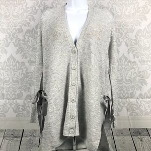 NEW Halogen Gray Bow Cardigan Button Down Size M